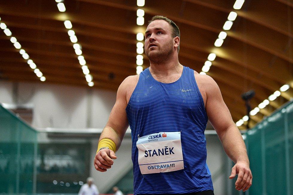 Mezinárodní halový atletický mítink Czech Indoor Gala 2020, 5. února 2020 v Ostravě. Vrh koulí Tomáš Staněk z Česka.