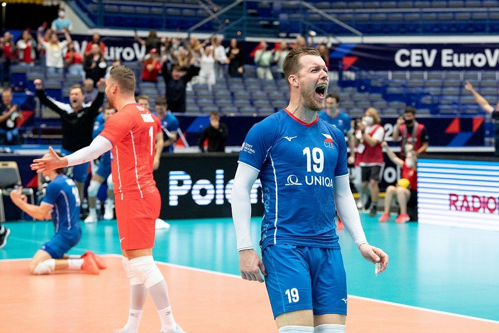 Utkání mistrovství Evropy volejbalistů - osmifinále: ČR - Francie, 13. září 2021 v Ostravě. Luboš Bartůněk z ČR.
