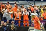 ČR - Nizozemsko, utkání kvalifikace tenisového Davisova poháru - úvodní dvouhry, Jiří Veselý (ČR) - Tallon Griekspoor (Nizozemsko), 1. února 2019 v Ostravě. Na snímku Tallon Griekspoor.
