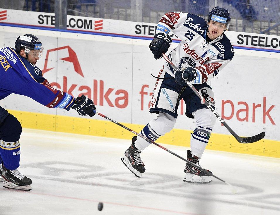 Utkání 15. kola hokejové extraligy: HC Vítkovice Ridera - PSG Berani Zlín, 29. října 2019 v Ostravě. Na snímku (zleva) Dalibor Řezníček a Patrik Zdráhal.