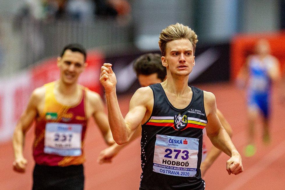Halové mistrovství ČR mužů a žen v atletice, 23. února 2020 v Ostravě. 800 metrů muži Lukáš Hodboď (TJ Sokol Hradec Králové).
