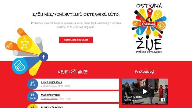 Úvodní stránka webu Ostravazije.cz