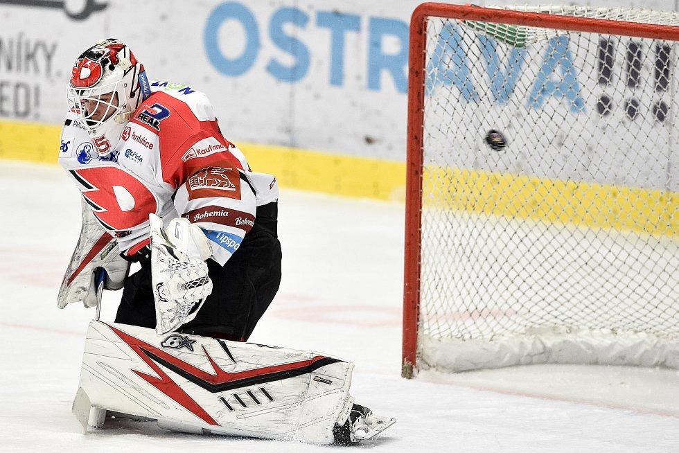 Utkání 50. kola hokejové extraligy: HC Vítkovice Ridera - HC Dynamo Pardubice, 2. března 2021 v Ostravě. brankář Pardubic Milan Klouček.