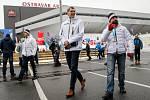 Olympijský festival u Ostravar Arény v Ostravě, neděle 18. února 2018, zprava Tomáš Macura, Jiří Kejval