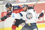 Utkání 52. kola hokejové extraligy: HC Vítkovice Ridera - HC HC Bílí Tygři Liberec, 4. března 2018 v Ostravě. (vlevo) Lev Jakub a Filippi Tomáš.