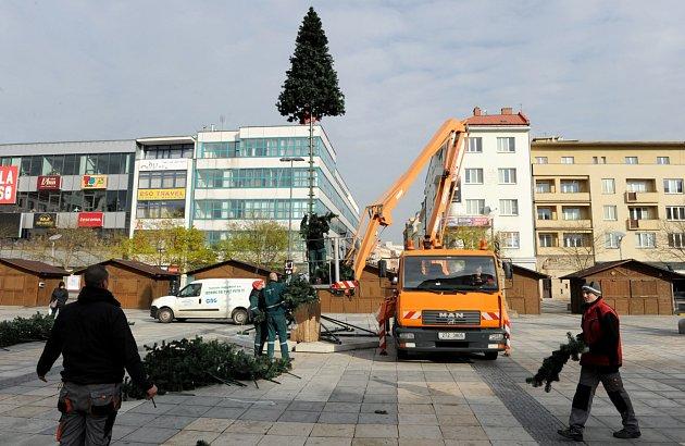 Deset metrů vysoký umělohmotný vánoční strom vcentru Ostravy má vprůměru 4,5metru a skládá zvíce než 27tisíc větví.
