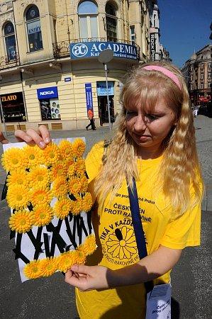 Lidé vOstravě také přispívali na boj proti rakovině koupí květinky.