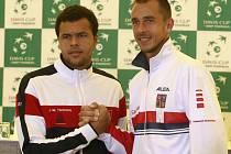 Lukáš Rosol (vpravo) vyzve na úvod čtvrtfinále Davis Cupu s Francií Tsongu.