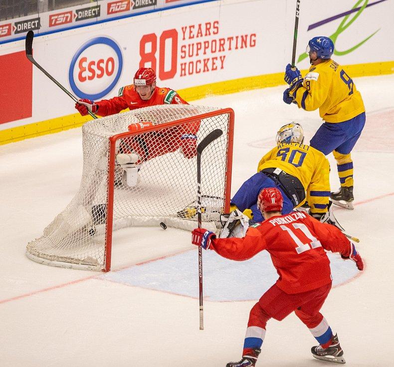 Mistrovství světa hokejistů do 20 let, semifinále: Švédsko - Rusko, 4. ledna 2020 v Ostravě. Na snímku vítěžný gól Ruska.