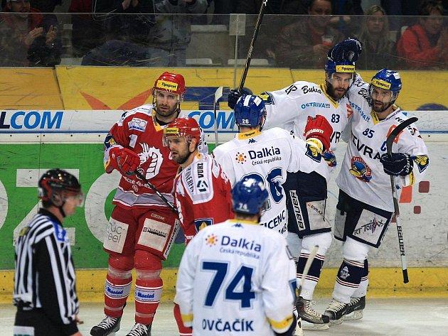 Utkání HC Vítkovice Steel a HC Oceláři Třinec