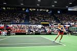 Fed Cup v Ostravě, 12. únor 2017, Karolína Plíšková porazila Garbiňe Muguruzaovou.