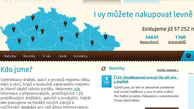 Webová stránka portálu www.vasmajetek.cz