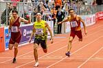 Halové mistrovství ČR mužů a žen v atletice, 23. února 2020 v Ostravě. 200 metrů muži zleva Jiří Kubeš (TJ Dukla Praha), Eduard Kubelík (Atletika Jihlava) a Vít Müller (TJ Dukla Praha).