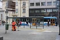 Zastávka Elektra v centru Ostravy, duben 2018. Ilustrační foto.