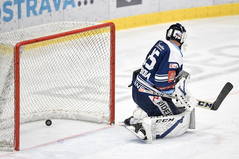 Utkání 16. kola hokejové extraligy: HC Vítkovice Ridera - HC Oceláři Třinec, 15. února 2021 v Ostravě. Brankář Miroslav Svoboda z Vítkovic.
