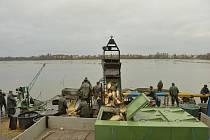 Výlov rybníka Nezmar v Dolním Benešově, listopad 2020.