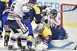 Utkání 32. kola hokejové extraligy: HC Vítkovice Ridera - PSG Berani Zlín, 4. ledna 2019 v Ostravě. Na snímku (střed) Sedáček Jakub, Jan Schleiss.