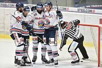HC Vítkovice Ridera. Na snímku (zleva) Ivan Baranka, Jan Schleiss, Roman Szturc a Jakub Lev. Ilustrační foto.