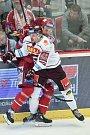Utkání 9. kola hokejové extraligy: HC Oceláři Třinec - HC Sparta Praha, 12. října 2018 v Třinci. Na snímku (zleva) Jiří Smejkal a Tomáš Marcinko.