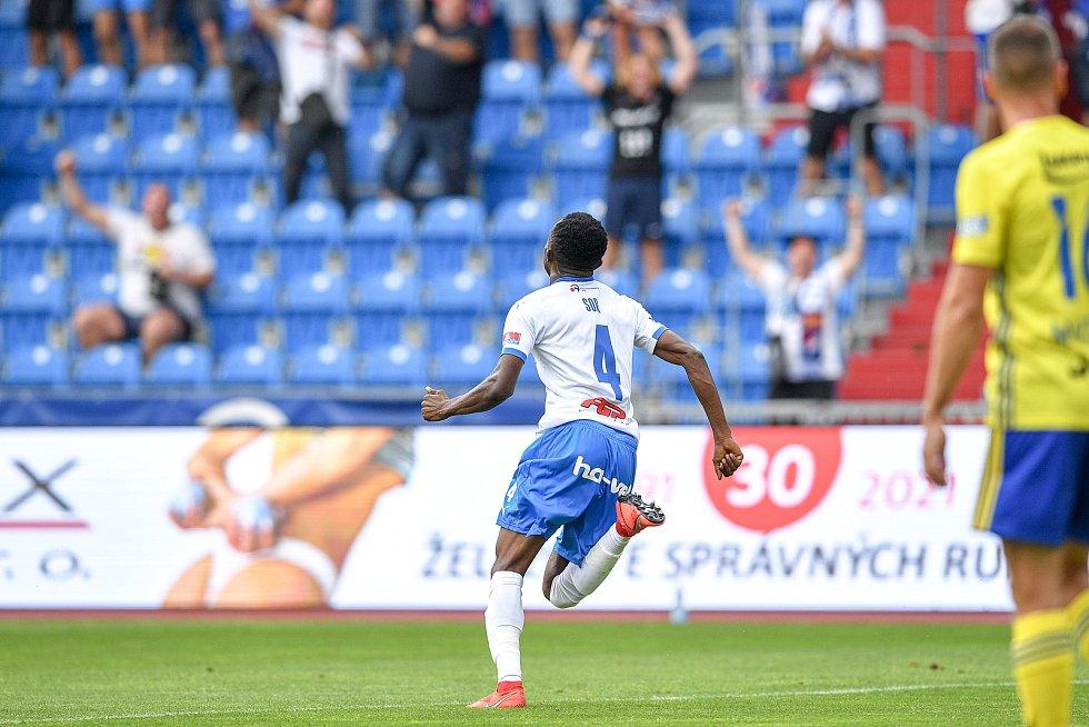 Utkání 2. kola první fotbalové ligy: Baník Ostrava - Fastav Zlín, 1. srpna 2021 v Ostravě. Collins Yira Sor z Ostravy se raduje z gólu.