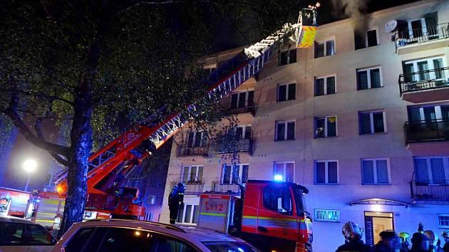 Čtvrteční požár v Ostravě-Hrabůvce.