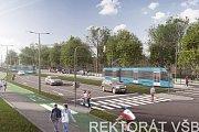 Vizualizace nové tramvajové trati v Porubě.