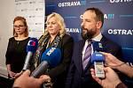 Na snímku (zprava) primátor Ostravy Tomáš Macura, Klára Dostálová (ministryně pro místní rozvoj) a Zuzana Bajgarová (náměstkyně primátora) na tiskové konferenci, 16. ledna 2020 v Ostravě.
