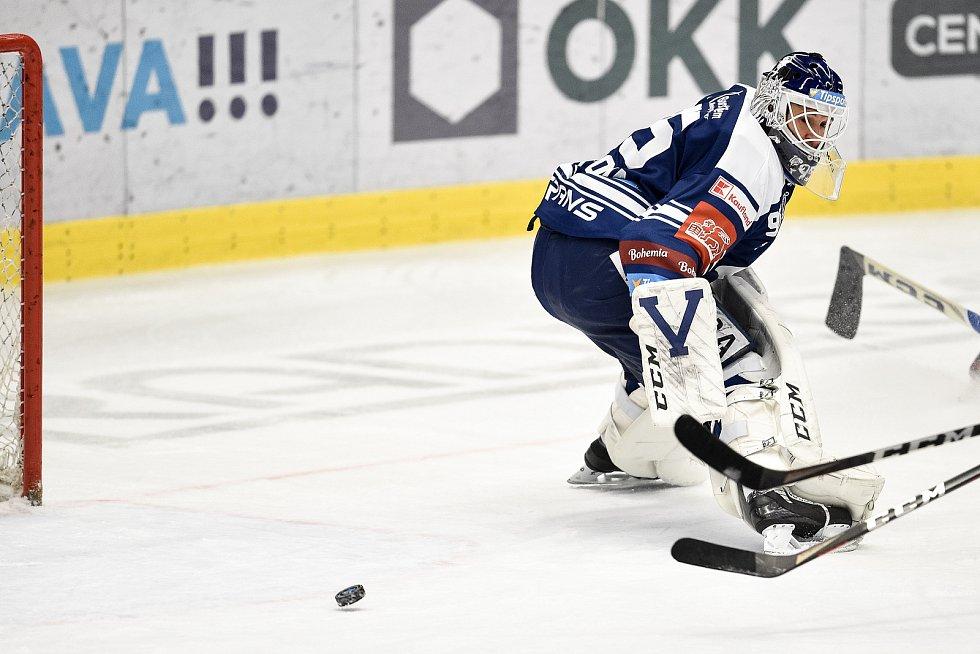 Utkání 50. kola hokejové extraligy: HC Vítkovice Ridera - HC Dynamo Pardubice, 2. března 2021 v Ostravě. Brankář Miroslav Svoboda z Vítkovic.
