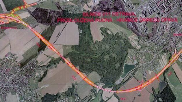 Plánek stavby prodloužené Rudné