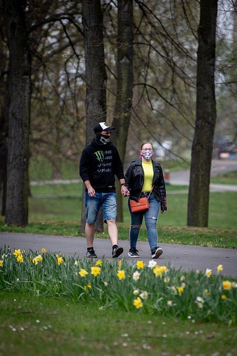 Komenské sady v Ostravě, 15. dubna 2020.