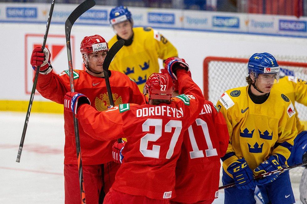Mistrovství světa hokejistů do 20 let, semifinále: Švédsko - Rusko, 4. ledna 2020 v Ostravě. Na snímku radost Ruska.