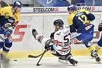 Utkání 32. kola hokejové extraligy: HC Vítkovice Ridera - PSG Berani Zlín, 4. ledna 2019 v Ostravě. Na snímku (střed) Rostislav Olesz a Fořt Tomáš.