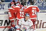Utkání 44. kola hokejové extraligy: HC Vítkovice Ridera - HC Olomouc, 23. ledna 2019 v Ostravě. Na snímku radost Olomouce.