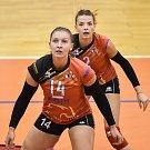 Volejbal, ženy - Ostrava – Frýdek-Místek, 17. října 2018 v Ostravě. Na snímku (zprava) Simona Lukáčová a Kateřina Zemanová.