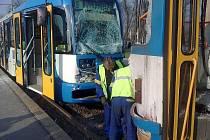 Nehoda tramvají v Ostravě.