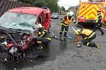 Dopravní nehoda tří vozidel v Ludgeřovicích.