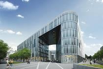 VIZUALIZACE. Kancelářský objekt bude vstupní branou do Nové Karoliny od centra Ostravy.