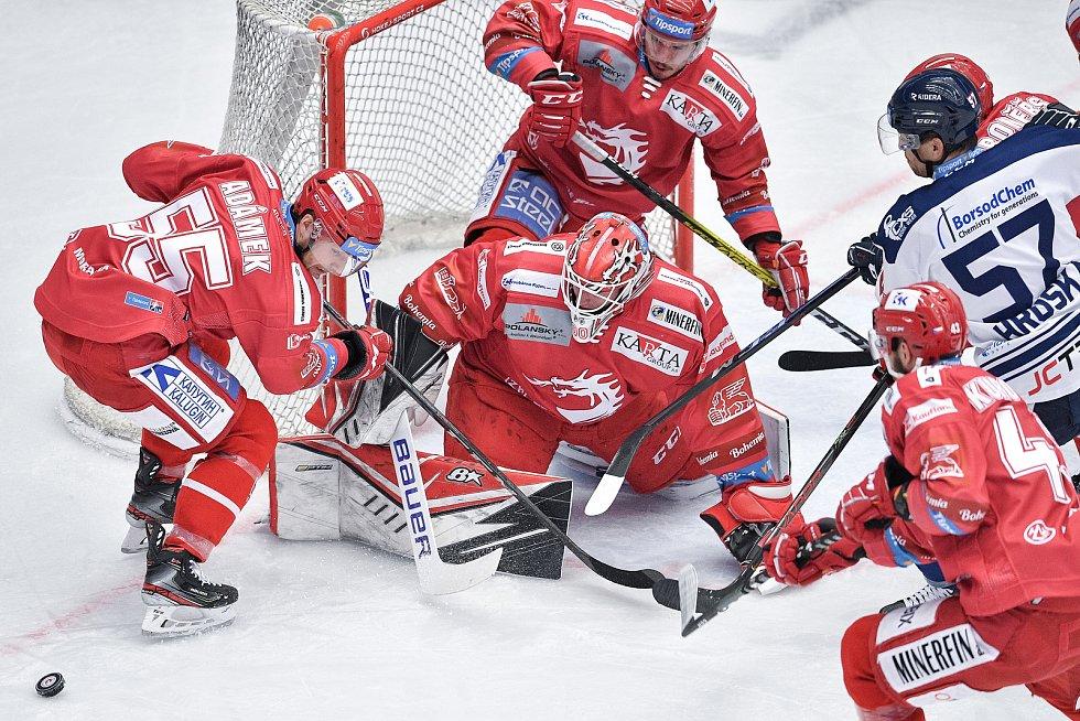 Utkání 42. kola hokejové extraligy: HC Oceláři Třinec - HC Vítkovice Ridera, 2. února 2021 v Třinci. (vpravo) osamělý hráč Jan Hruška z Vítkovic