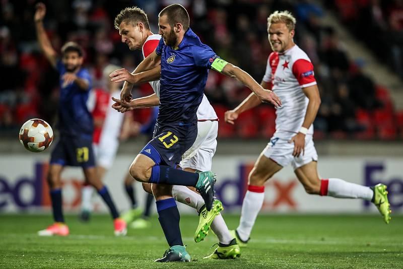 Zápas Evropské ligy mezi Slavia Praha a Maccabi Tel Aviv, hraný 14. září v Praze. Tomáš Necid