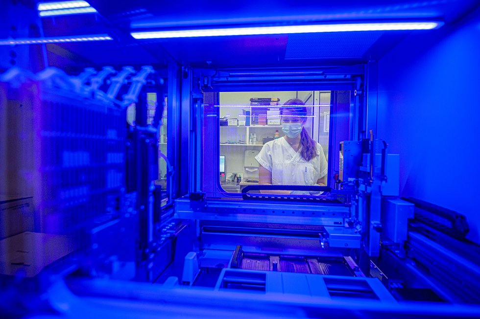 Testování vzorků koronaviru v laboratoři AGELLAB ve Vítkovické nemocnici v Ostravě, říjen 2020. Ilustrační foto.