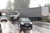 Nehoda kamionu na Rudné ulici v Ostravě