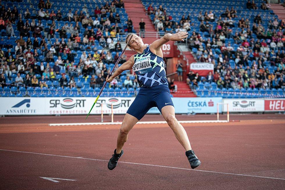 Zlatá tretra Ostrava - 59. ročník atletického mítinku, 8. září 2020 v Ostravě. Hod oštěpem Barbora Špotáková.