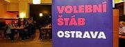 Volební štáb ANO v Ostravě.