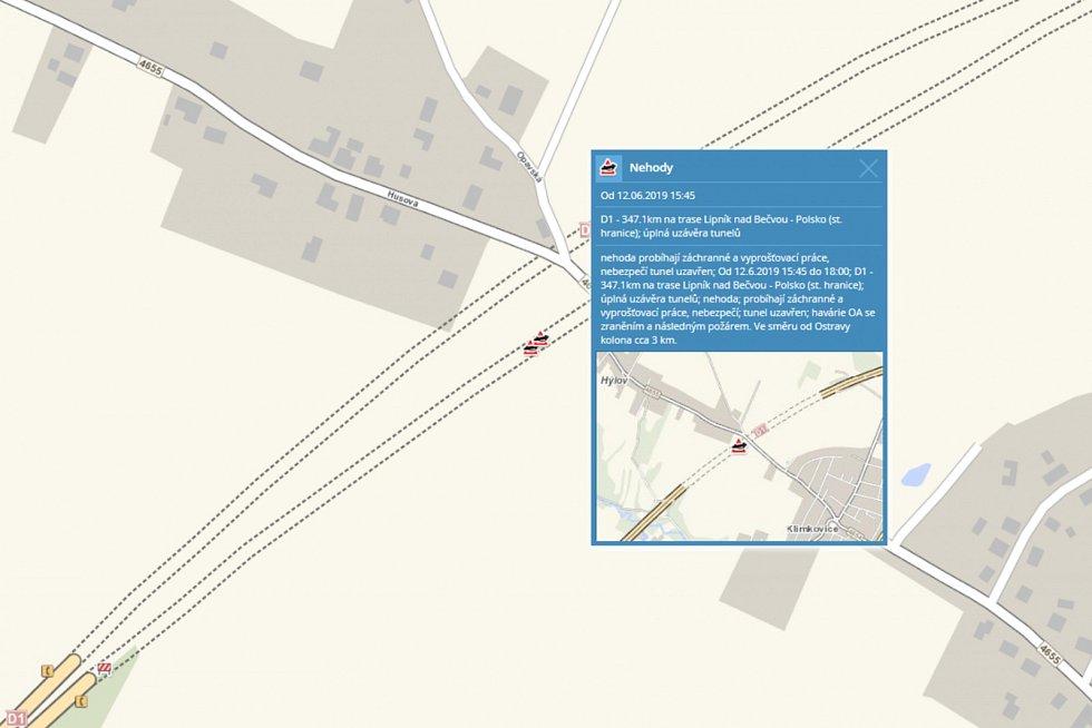 Informace o nehodě.