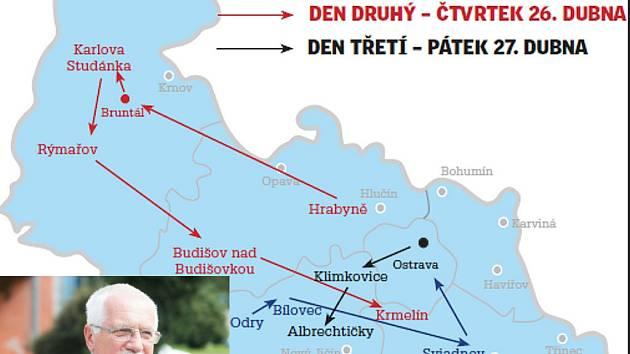 Mapa pohybu prezidenta Václava Klause po Moravskoslezském kraji.
