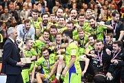 Superfinále play off florbalové superligy mužů: Technology florbal Mladá Boleslav - 1. SC TEMPISH Vítkovice, 14. dubna 2019 v Ostravě. Na snímku team Vítkovic.