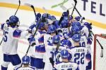 Mistrovství světa hokejistů do 20 let, skupina A: Slovensko - Kazachstán, 27. prosince 2019 v Třinci. Na snímku radost Slovenska.