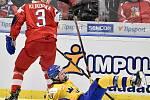Mistrovství světa hokejistů do 20 let, čtvrtfinále: ČR - Švédsko, 2. ledna 2020 v Ostravě. Na snímku (zleva) Karel Klikorka a Lucas Raymond.