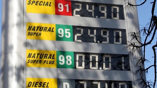 Ceny benzinů u ostravských pump dále klesají. V pátek 28. listopadu se dal natural 95 koupit pod pětadvacet korun.