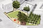 Farská zahrada - vizualizace budoucí podoby. Revitalizace má začít na podzim a skončit příští rok na jaře.